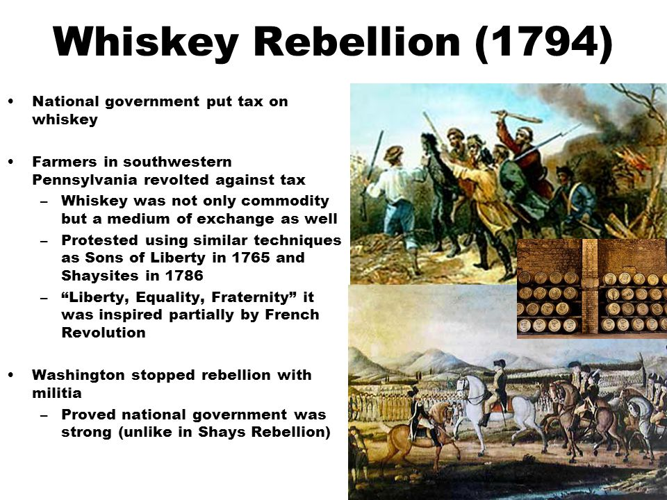 Whiskey Rebellion (1794) National government put tax on whiskey