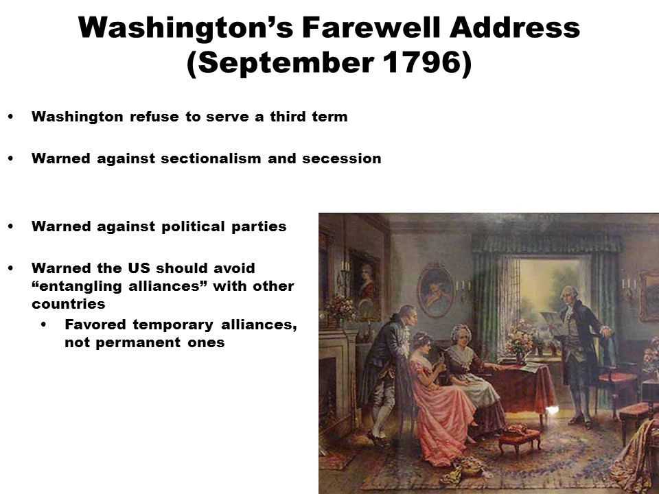 Washington's Farewell Address (September 1796)