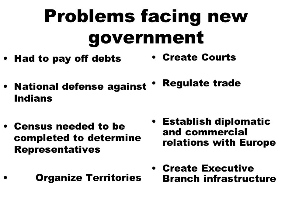 Problems facing new government