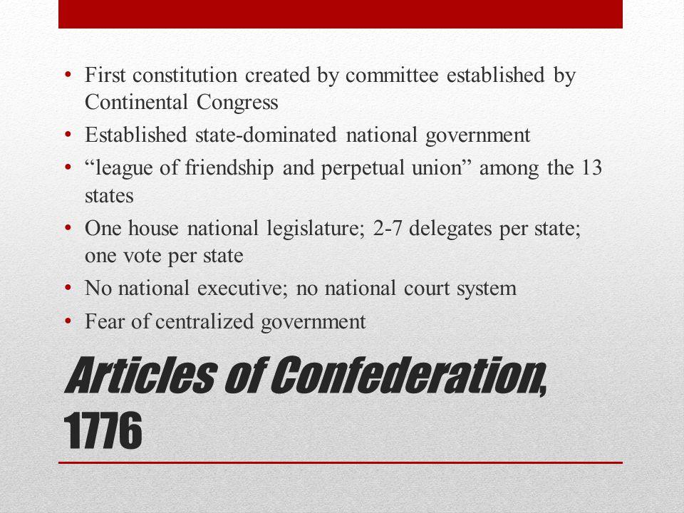 Articles of Confederation, 1776