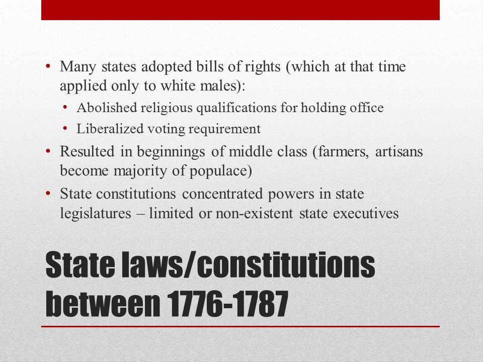 State laws/constitutions between 1776-1787