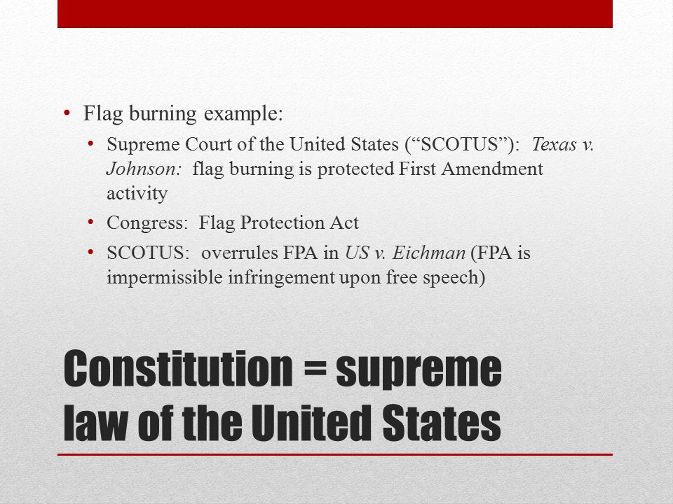 Constitution = supreme law of the United States