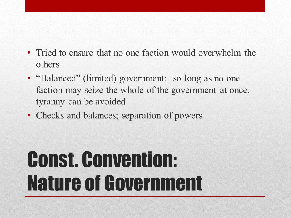 Const. Convention: Nature of Government