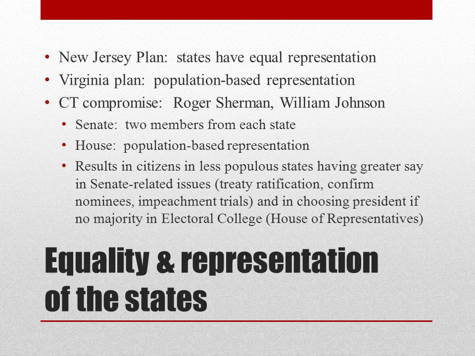 Equality & representation of the states