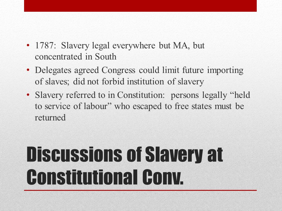 Discussions of Slavery at Constitutional Conv.