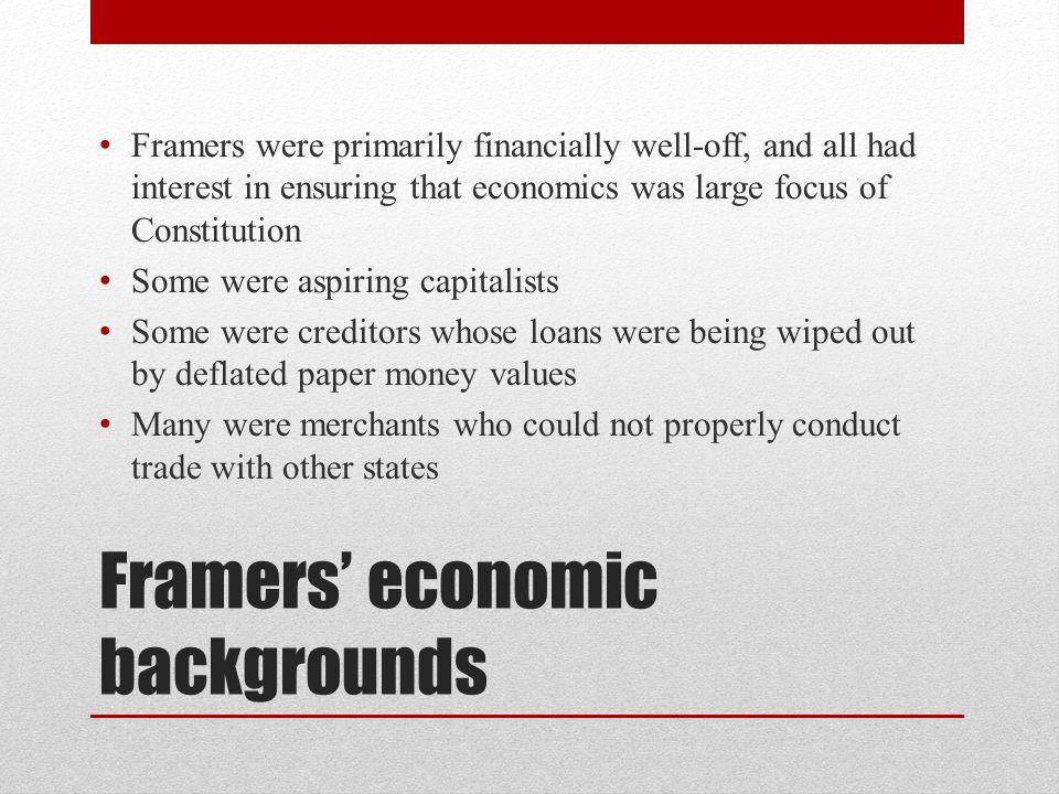 Framers' economic backgrounds