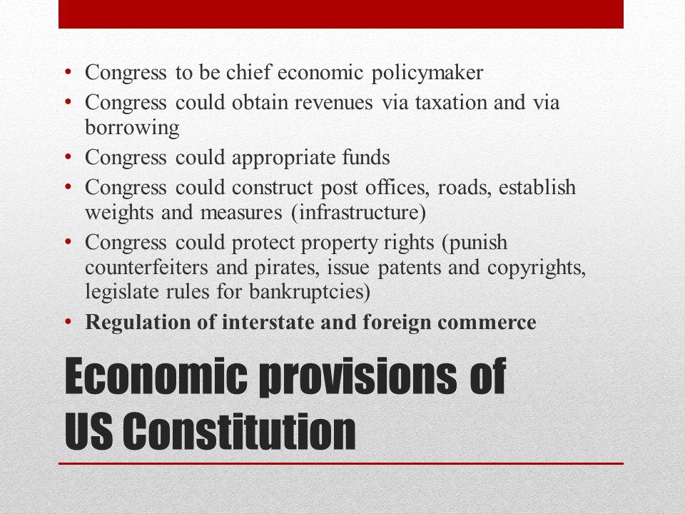 Economic provisions of US Constitution