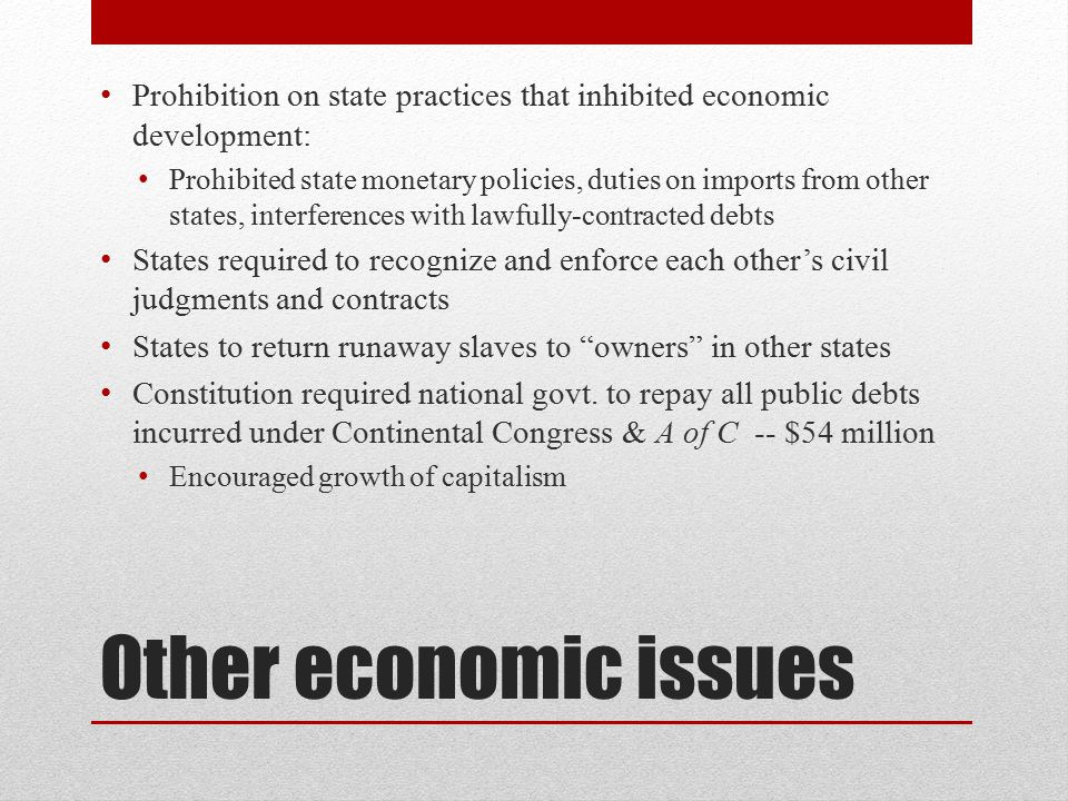 Prohibition on state practices that inhibited economic development:
