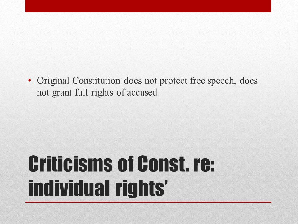 Criticisms of Const. re: individual rights'