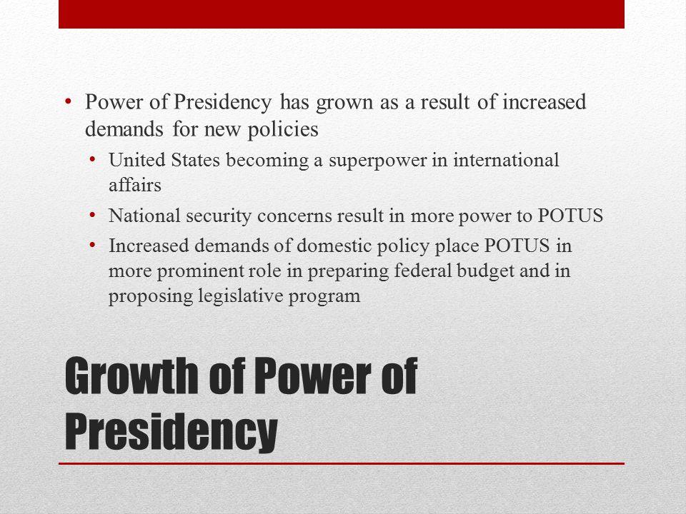 Growth of Power of Presidency