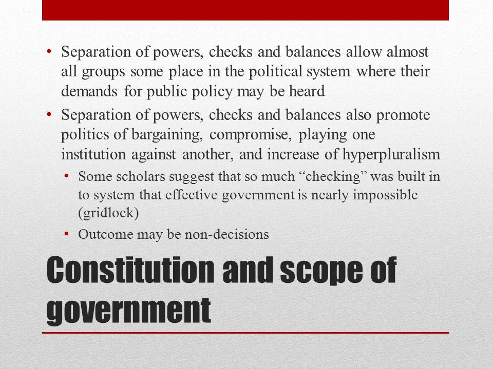 Constitution and scope of government