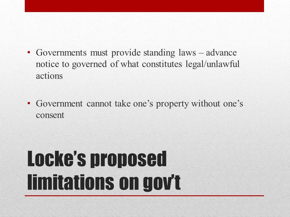 Locke's proposed limitations on gov't