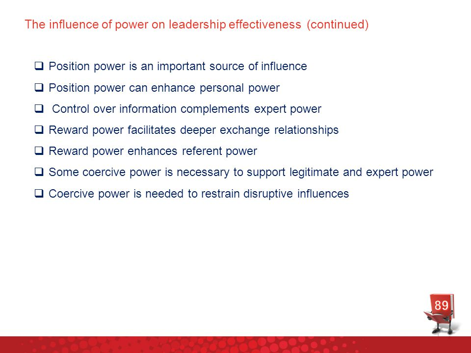 The influence of power on leadership effectiveness (continued)