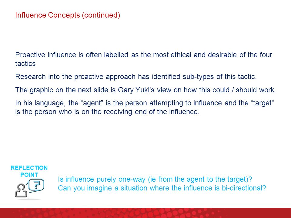 Influence Concepts (continued)