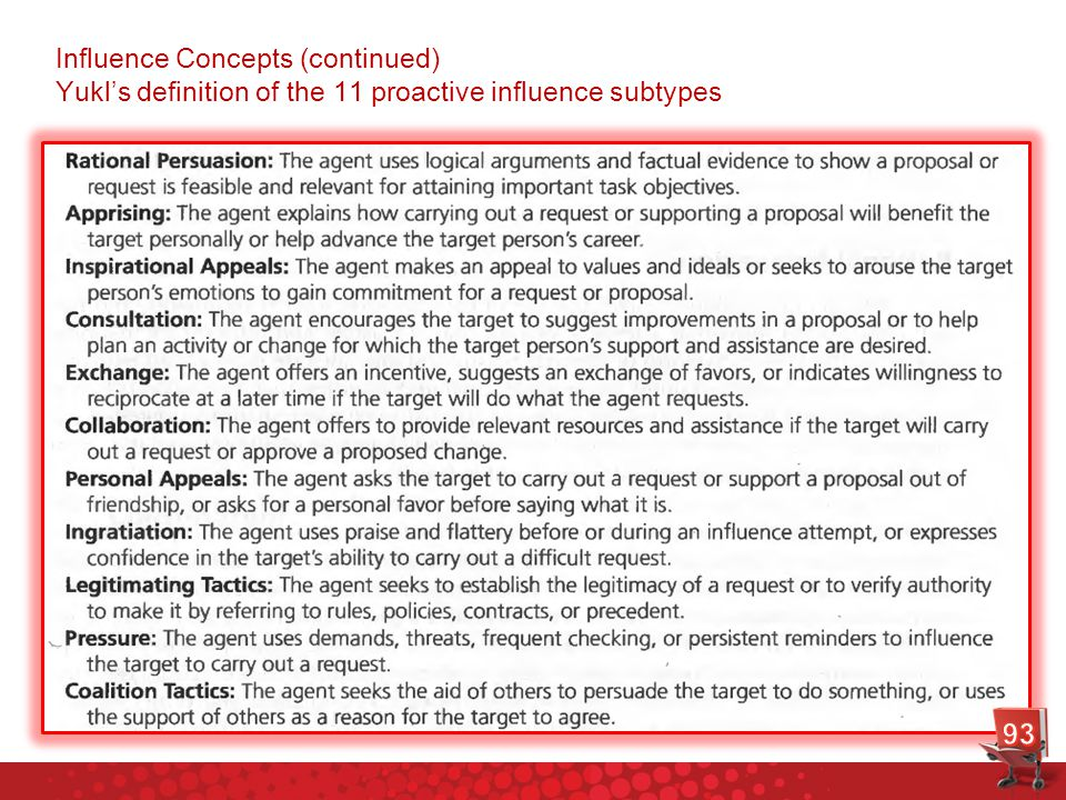 Influence Concepts (continued) Yukl's definition of the 11 proactive influence subtypes
