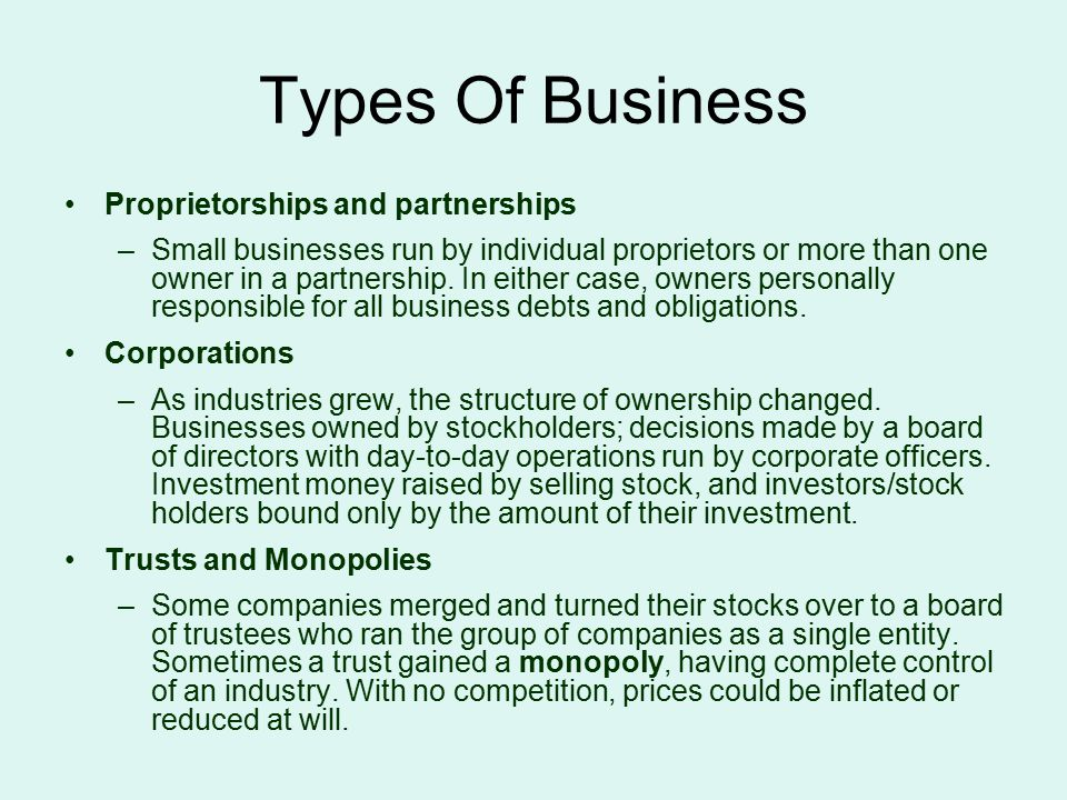 Types Of Business Proprietorships and partnerships