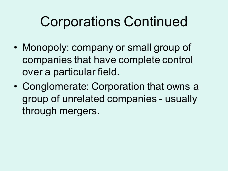 Corporations Continued
