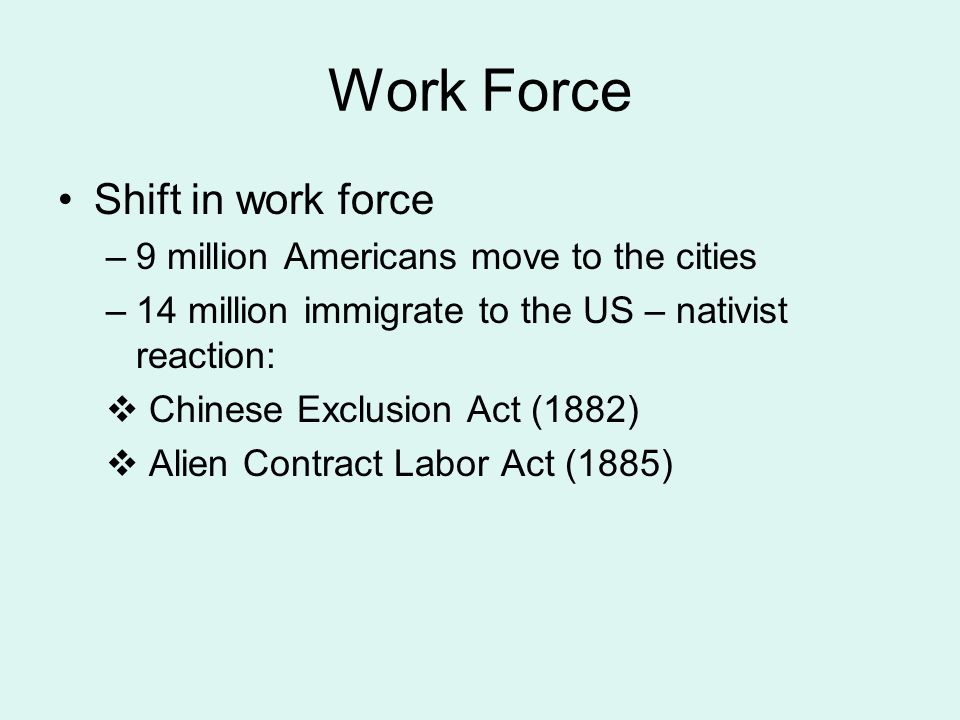 Work Force Shift in work force 9 million Americans move to the cities