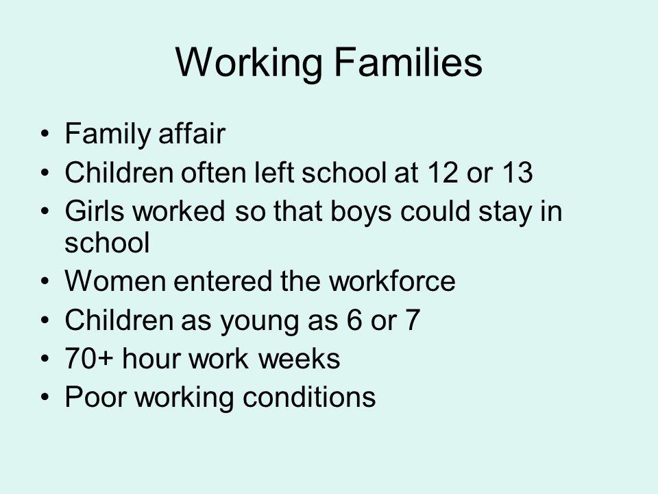 Working Families Family affair Children often left school at 12 or 13