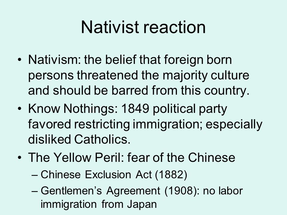 Nativist reaction Nativism: the belief that foreign born persons threatened the majority culture and should be barred from this country.
