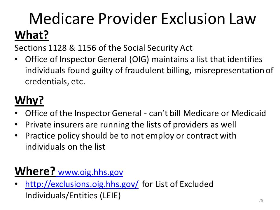Medicare Provider Exclusion Law