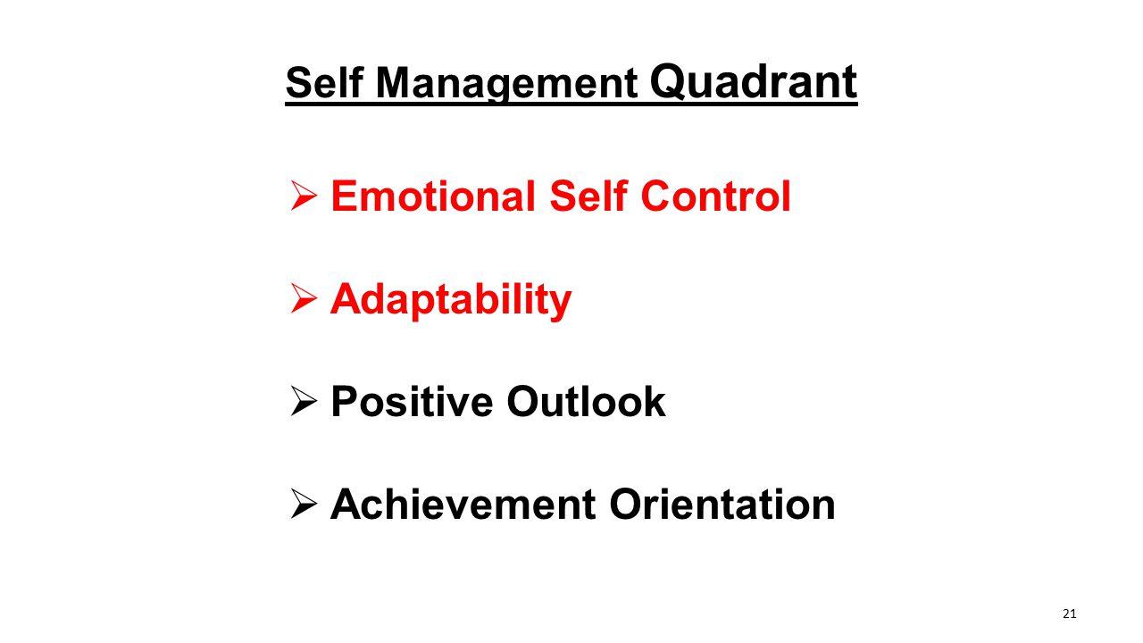 Self Management Quadrant