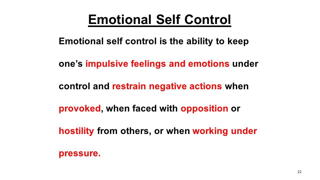 Emotional Self Control