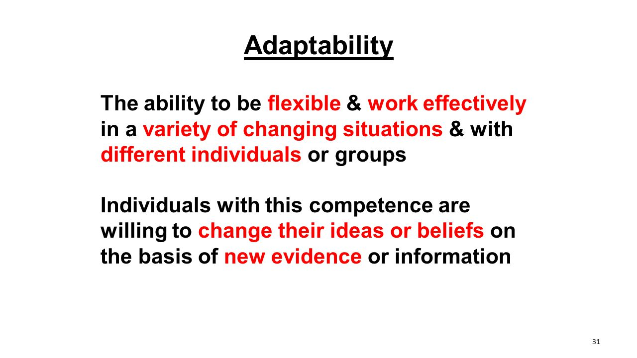 Adaptability The ability to be flexible & work effectively