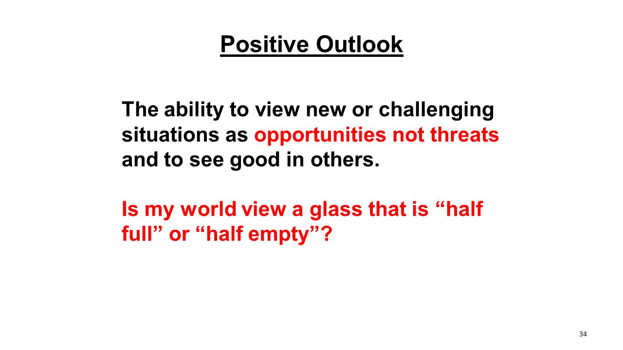 Positive Outlook The ability to view new or challenging