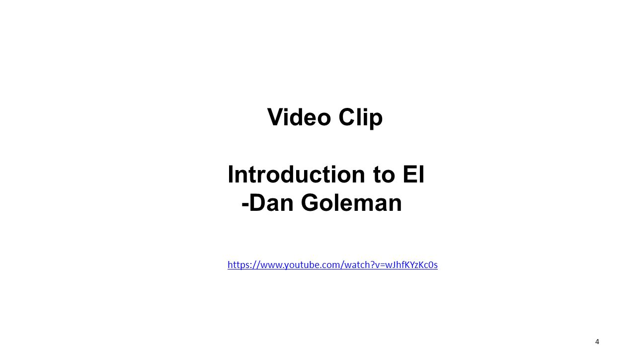 Video Clip Introduction to EI -Dan Goleman
