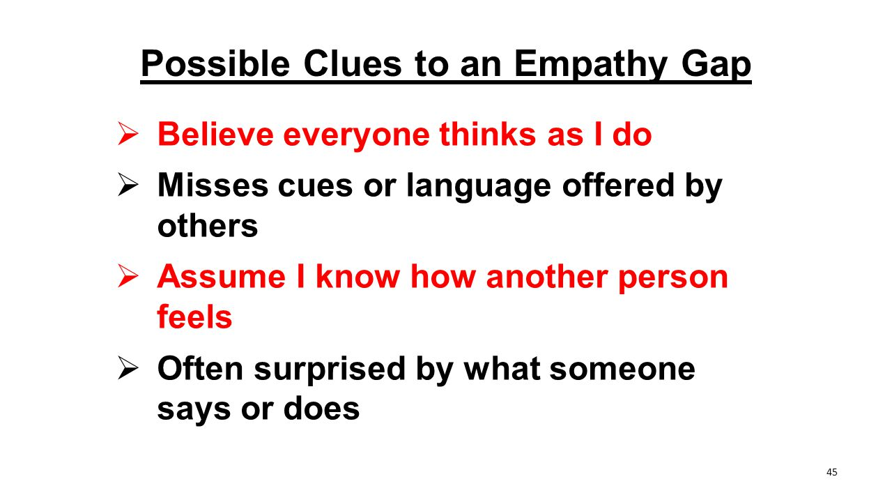 Possible Clues to an Empathy Gap