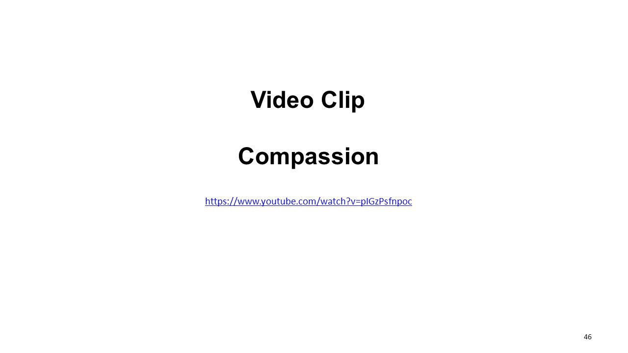 Video Clip Compassion https://www.youtube.com/watch v=pIGzPsfnpoc