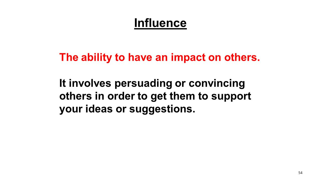 Influence The ability to have an impact on others.