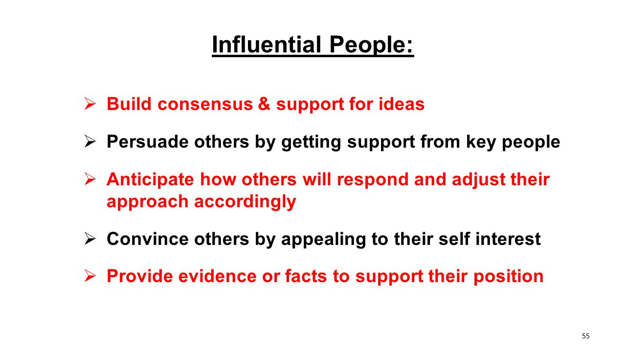 Influential People: Build consensus & support for ideas