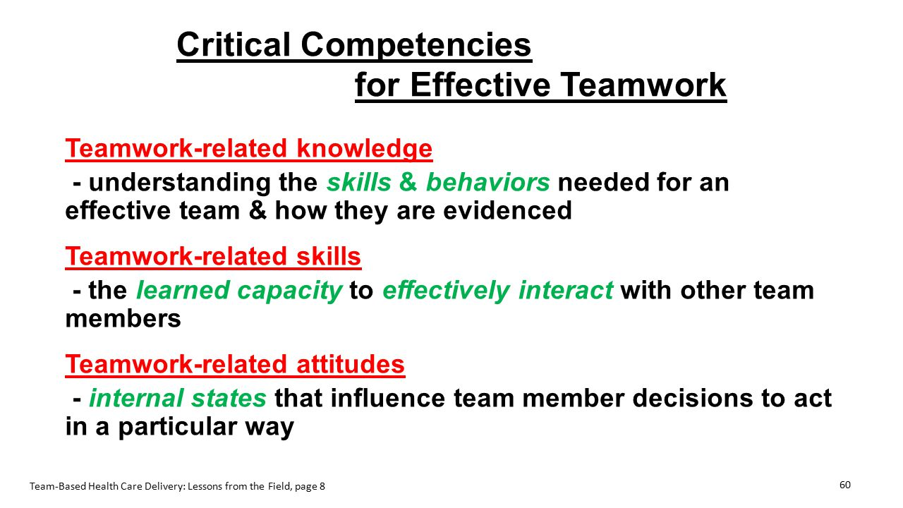 Critical Competencies for Effective Teamwork