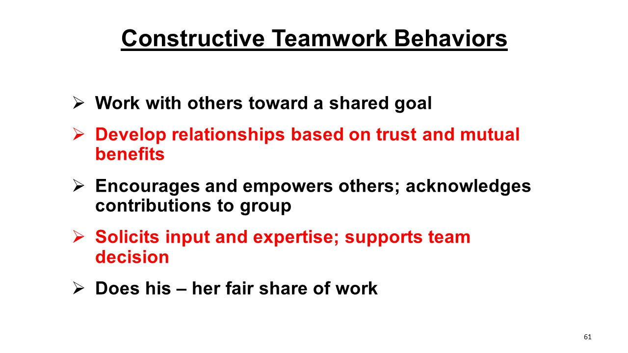 Constructive Teamwork Behaviors