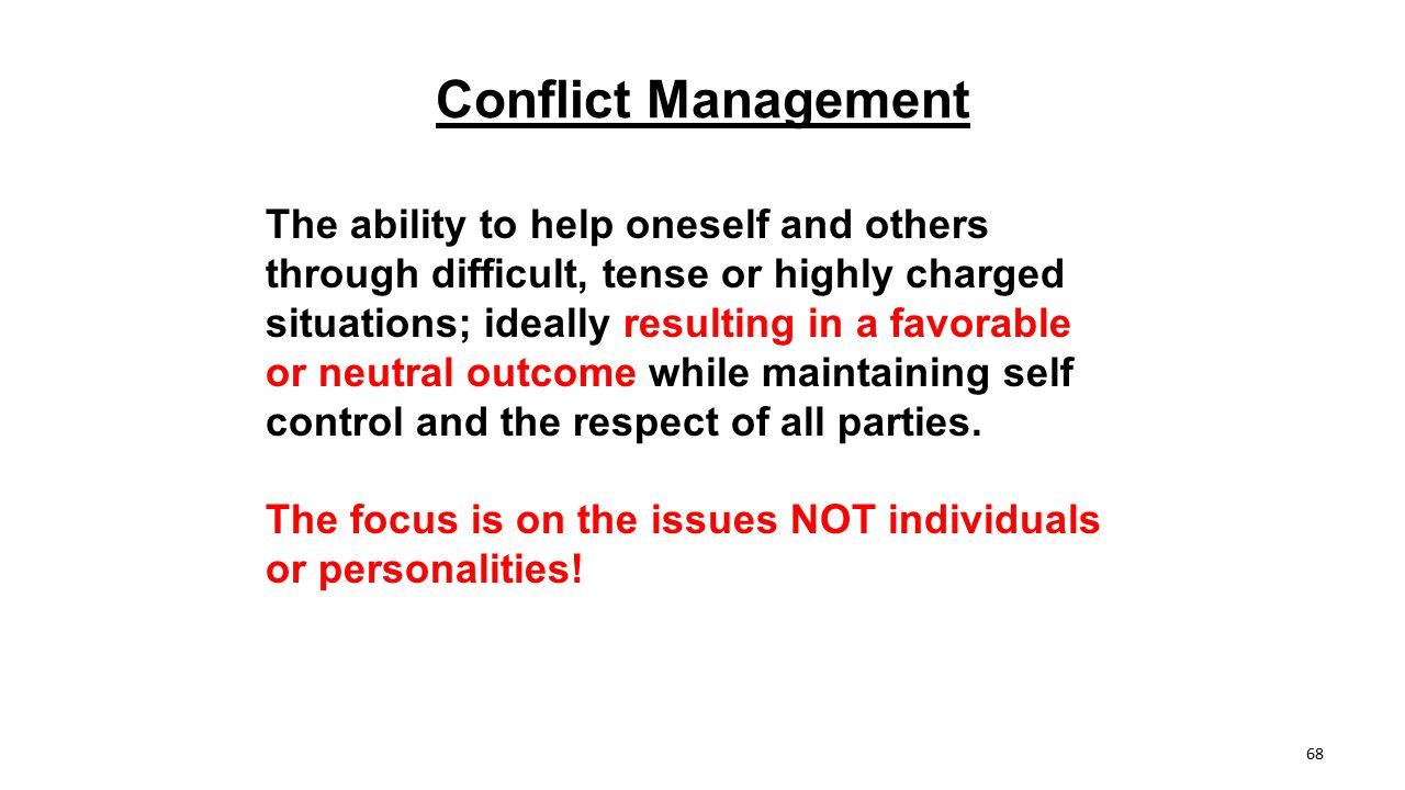 Conflict Management The ability to help oneself and others