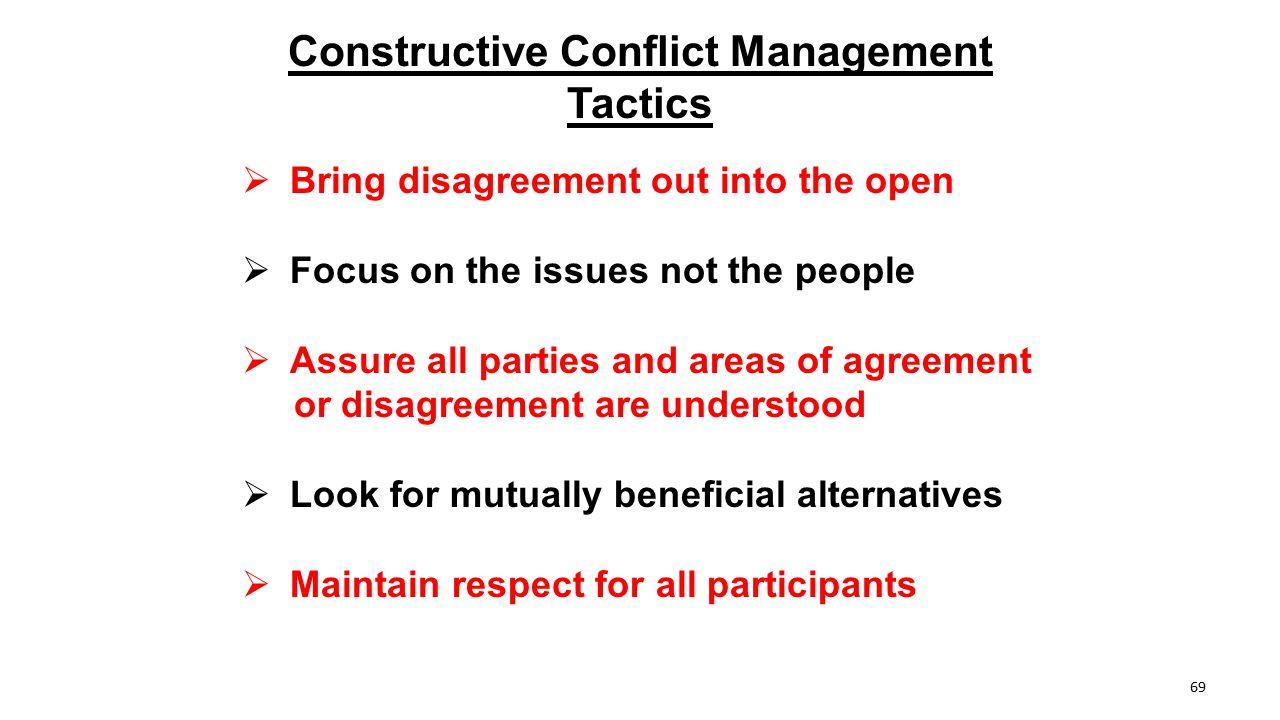 Constructive Conflict Management Tactics