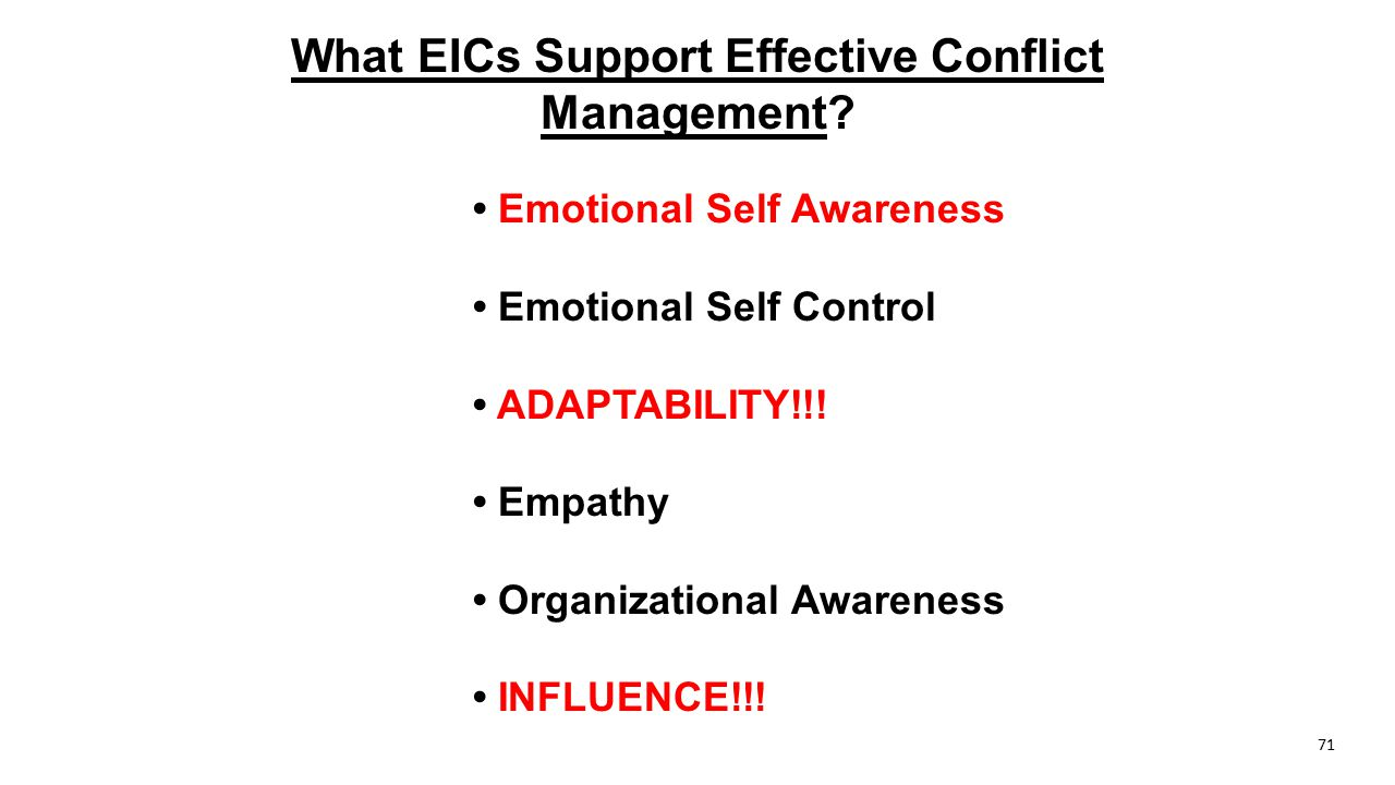 What EICs Support Effective Conflict Management