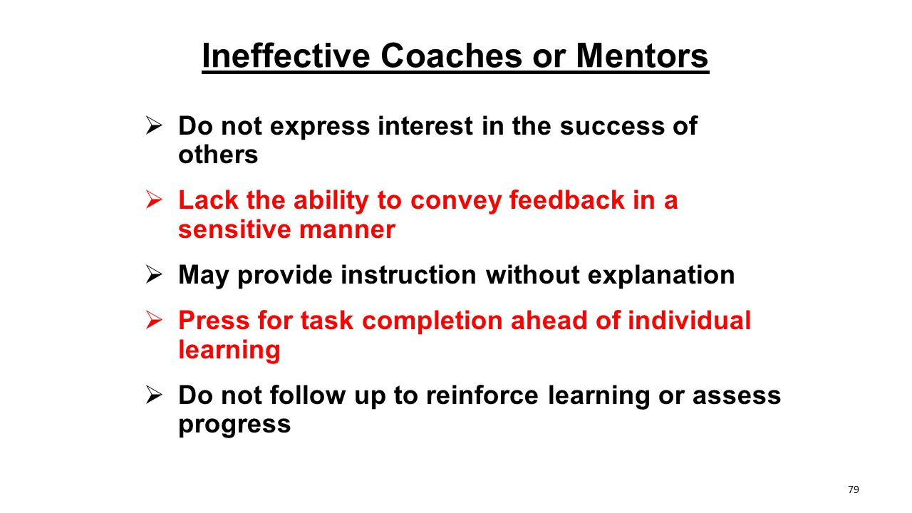 Ineffective Coaches or Mentors
