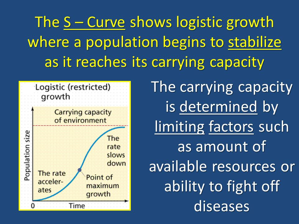 The S – Curve shows logistic growth where a population begins to stabilize as it reaches its carrying capacity