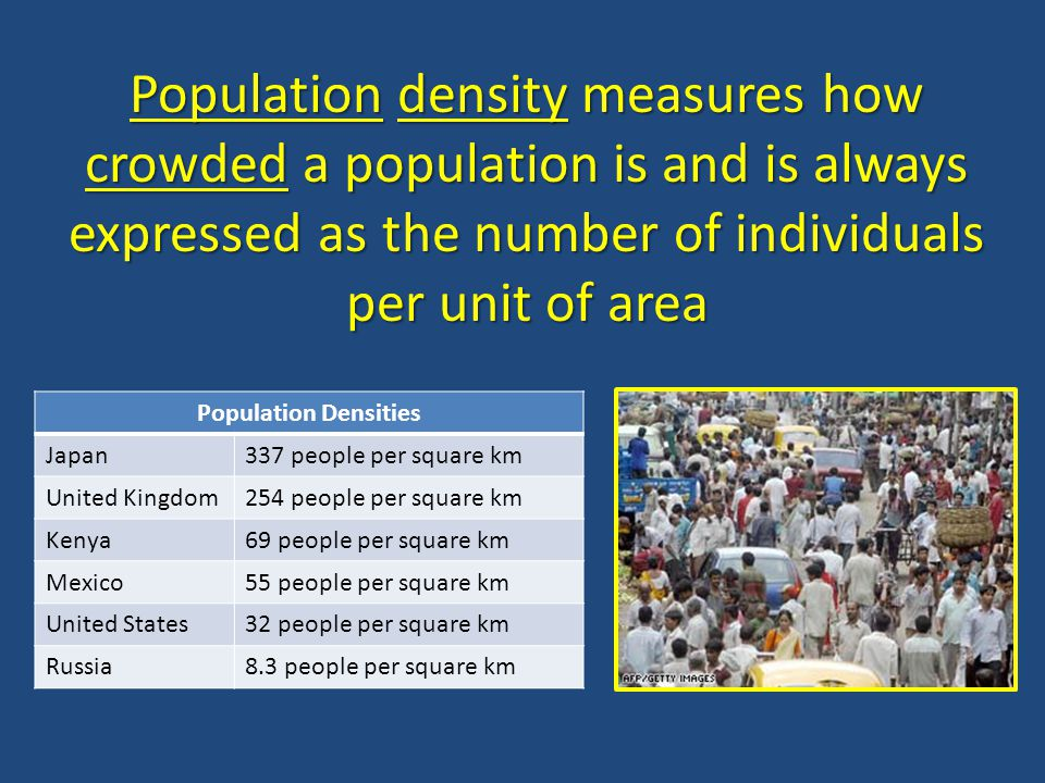 Population density measures how crowded a population is and is always expressed as the number of individuals per unit of area
