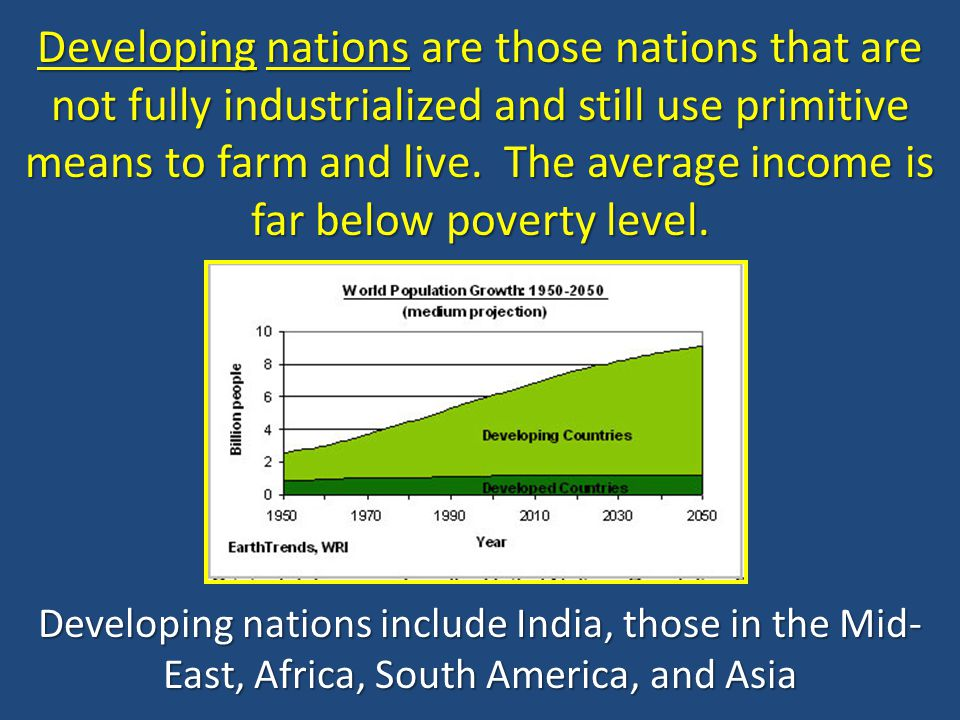 Developing nations are those nations that are not fully industrialized and still use primitive means to farm and live. The average income is far below poverty level.
