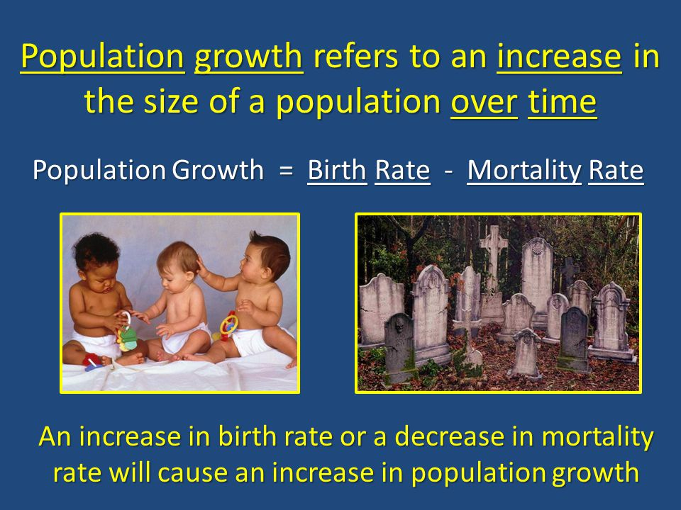 Population Growth = Birth Rate - Mortality Rate