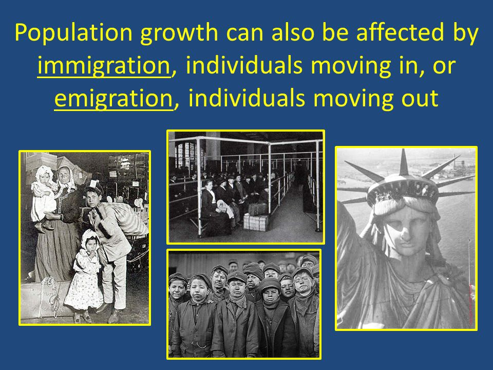 Population growth can also be affected by immigration, individuals moving in, or emigration, individuals moving out