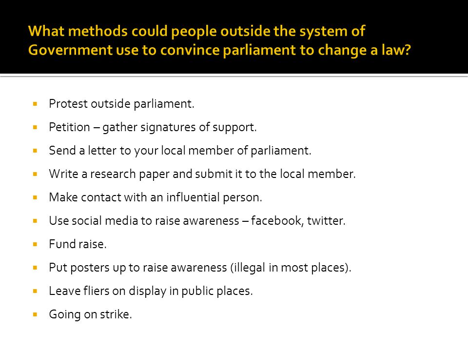 What methods could people outside the system of Government use to convince parliament to change a law