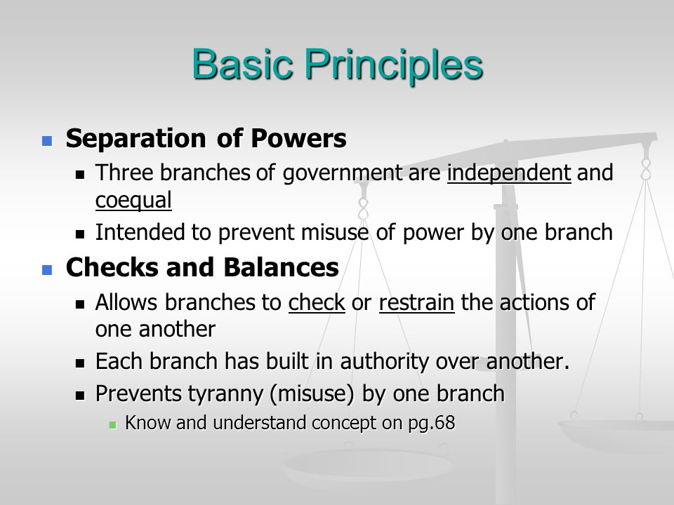 Basic Principles Separation of Powers Checks and Balances