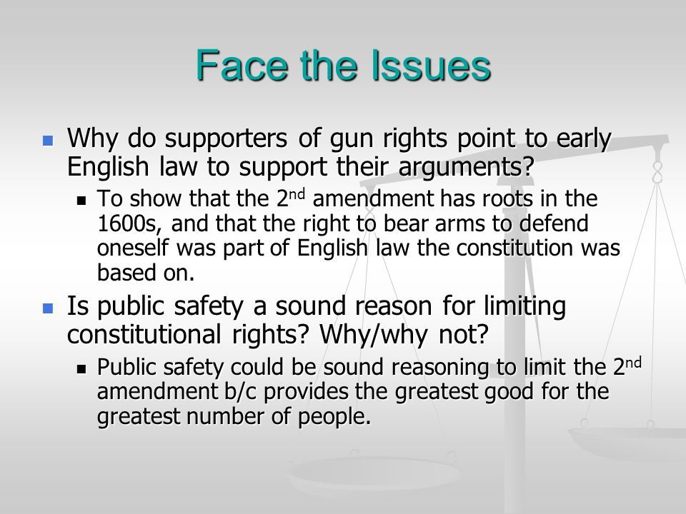 Face the Issues Why do supporters of gun rights point to early English law to support their arguments