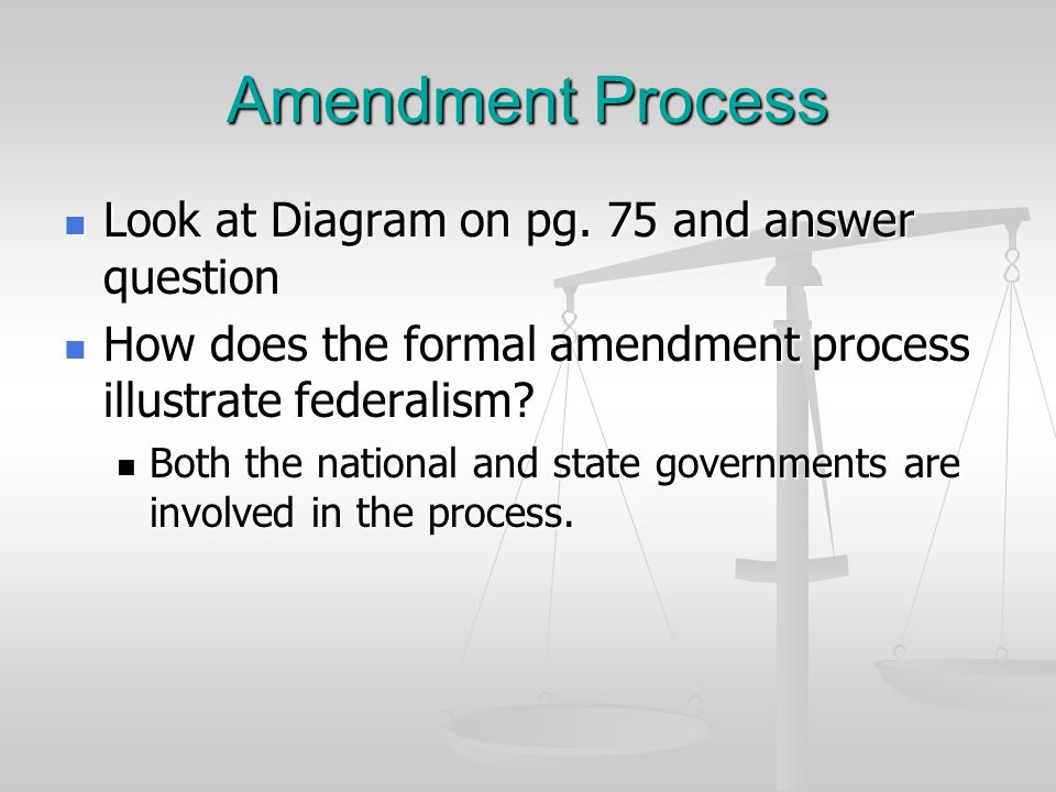Amendment Process Look at Diagram on pg. 75 and answer question