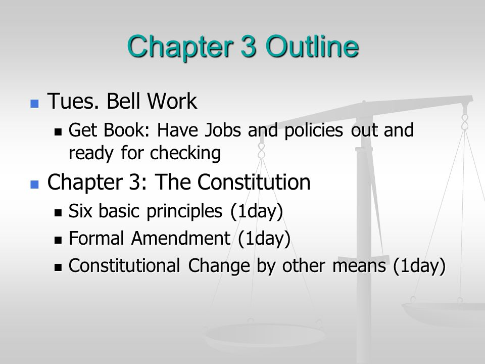 Chapter 3 Outline Tues. Bell Work Chapter 3: The Constitution